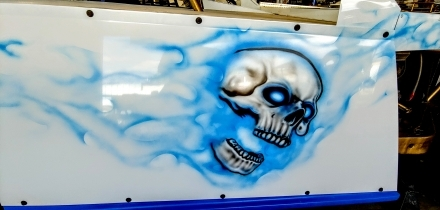 Custom airbrushed Skull and Flames 2