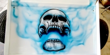 Custom airbrushed Skull and Flames 1